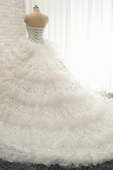 Glamorous Sweetheart White Sequins Wedding Dresses With Appliques Tulle Ruffles Bridal Gowns Online_3