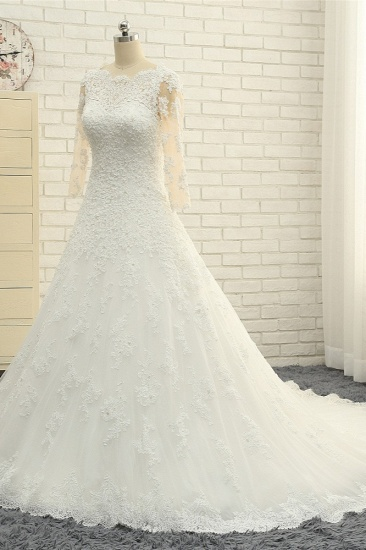 BMbridal Elegant A-Line Jewel White Tulle Lace Wedding Dress 3/4 Sleeves Appliques Bridal Gowns with Pearls_3