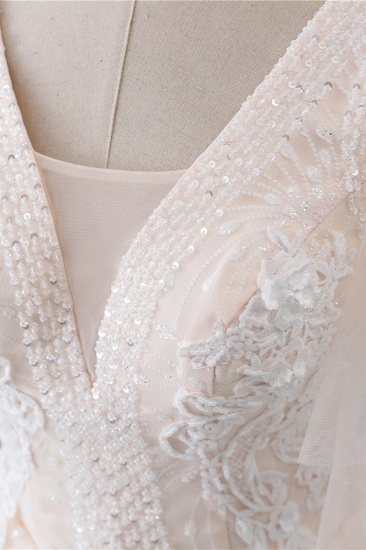 BMbridal Gorgeous Ball Gown V-Neck Tulle Beadings Wedding Dress Rhinestones Appliques Bridal Gowns with Short Sleeves On Sale_7