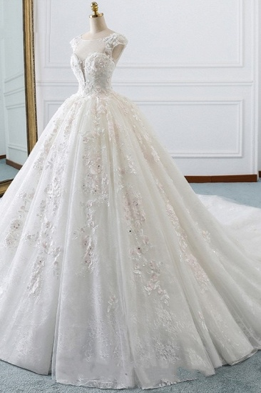 BMbridal Luxury Ball Gown Jewel Tulle Wedding Dress Beading Lace Appliques Sleeveless Bridal Gowns On Sale_4