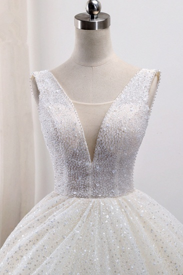 BMbridal Gorgeous Tulle V-Neck Ball Gown Wedding Dress Sparkly Sequined Sleeveless Bridal Gowns On Sale_5