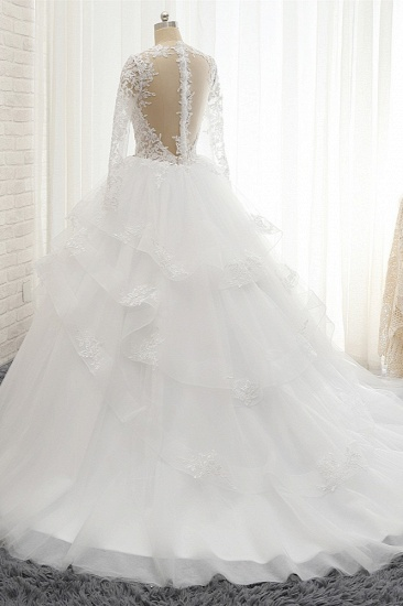 Glamorous Longlseeves Tulle Ruffles Wedding Dresses Jewel A-line White Bridal Gowns With Appliques On Sale_3