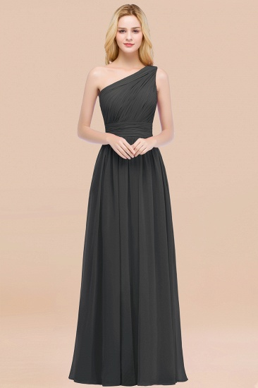 Chic One-shoulder Sleeveless Burgundy Chiffon Bridesmaid Dresses Online_46