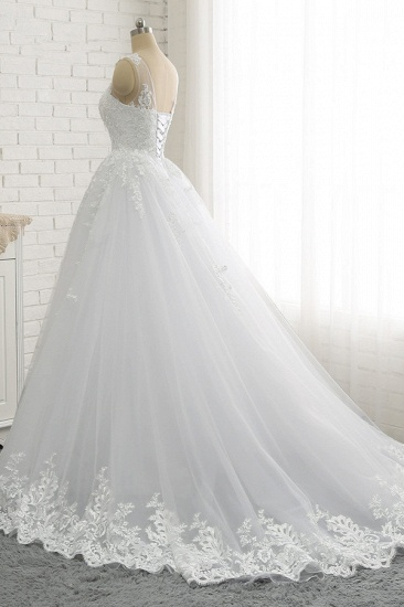 Chic A-Line Jewel Tulle Lace Wedding Dress Sleeveless Appliques Bridal Gowns with Beadings Online_3
