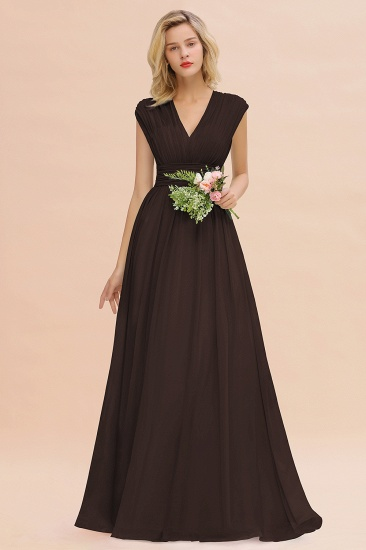Elegant Chiffon V-Neck Ruffle Long Bridesmaid Dresses Affordable_11