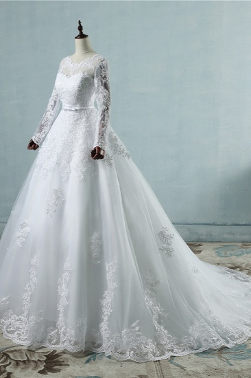 BMbridal Elegant Jewel Tulle Lace Wedding Dress Long Sleeves Appliques A-Line Bridal Gowns On Sale_4