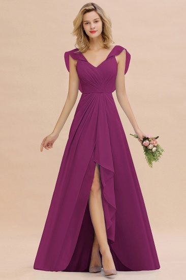 Modest Hi-Lo V-Neck Ruffle Long Bridesmaid Dress with Slit_42