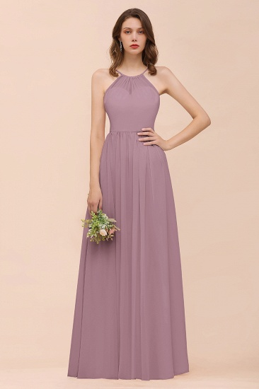 BMbridal Gorgeous Chiffon Halter Ruffle Affordable Long Bridesmaid Dress_43
