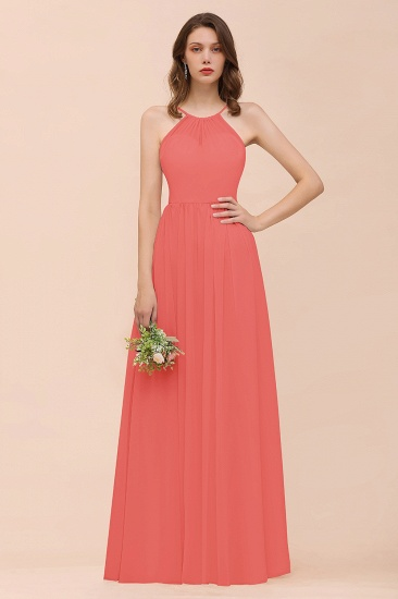 BMbridal Gorgeous Chiffon Halter Ruffle Affordable Long Bridesmaid Dress_7
