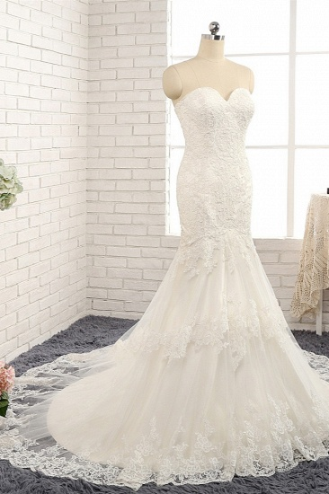 BMbridal Gorgeous Strapless Sleeveless Lace Tulle Wedding Dress Sweetheart Appliques Mermaid Bridal Gowns Online_4