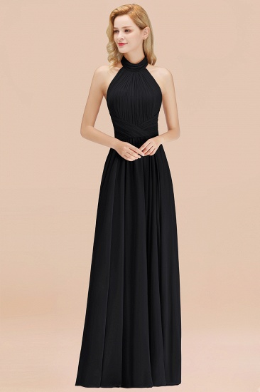 Gorgeous High-Neck Halter Backless Bridesmaid Dress Dusty Rose Chiffon Maid of Honor Dress_29