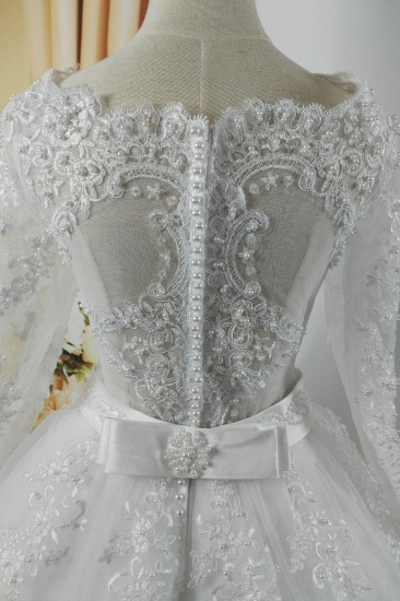 BMbridal Gorgeous Tulle Lace White Wedding Dress Long Sleeves Appliques Bridal Gowns with Pearls_5