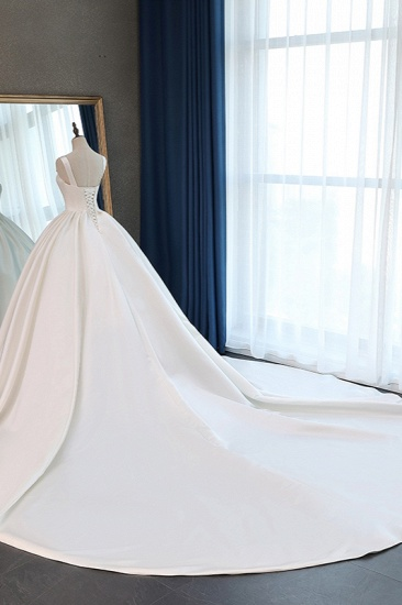 Elegant Ball Gown Straps Square-Neck Wedding Dress Ruffles Sleeveless Bridal Gowns Online_5