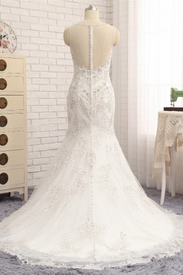 BMbridal Elegant White Sleeveless Jewel Wedding Dresses With Appliques Mermaid Lace Bridal Gowns Online_3