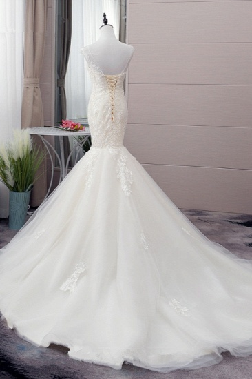 Glamorous Jewel Tulle Mermaid Iovry Wedding Dress Lace Appliques Sleeveless Bridal Gowns On Sale_4