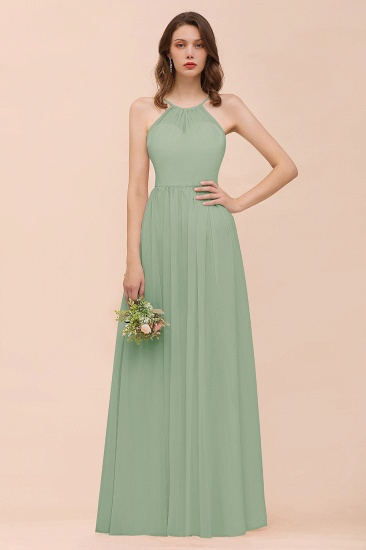 BMbridal Gorgeous Chiffon Halter Ruffle Affordable Long Bridesmaid Dress_41