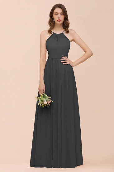 BMbridal Gorgeous Chiffon Halter Ruffle Affordable Long Bridesmaid Dress_46