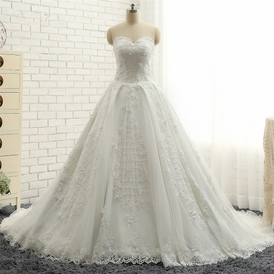 BMbridal Glamorous Sweetheart A-line Tulle Wedding Dresses With Appliques White Ruffles Lace Bridal Gowns  Online_7