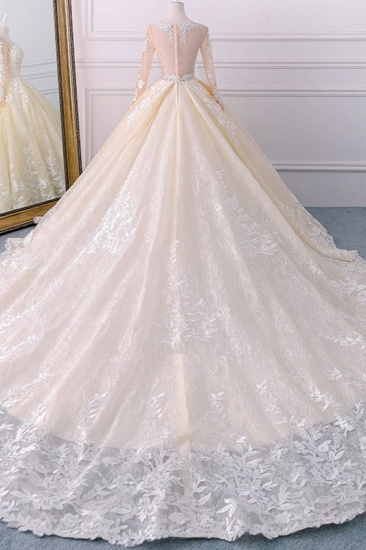 BMbridal Gorgeous Jewel Champagne Tulle Lace Wedding Dress Long Sleeves Appliques Bridal Gowns Online_3
