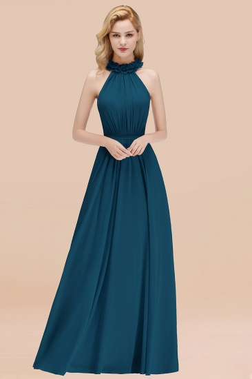 Modest High-Neck Halter Ruffle Chiffon Bridesmaid Dresses Affordable_27
