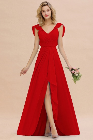 Modest Hi-Lo V-Neck Ruffle Long Bridesmaid Dress with Slit_8