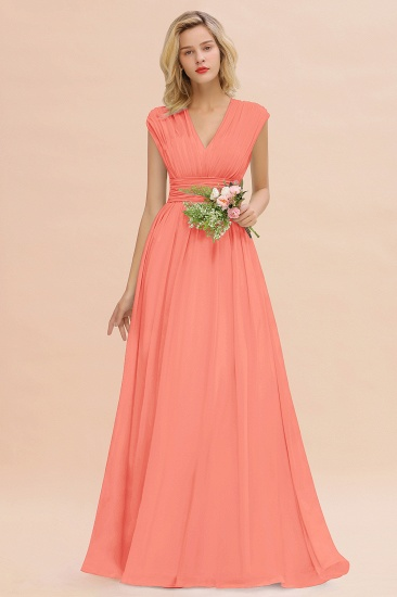 Elegant Chiffon V-Neck Ruffle Long Bridesmaid Dresses Affordable_45