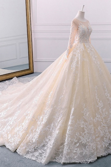 BMbridal Gorgeous Jewel Champagne Tulle Lace Wedding Dress Long Sleeves Appliques Bridal Gowns Online_4