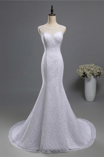 Gorgeous Jewel Lace Mermaid Wedding Dress Sleeveless Appliques Bridal Gowns with Rhinestones