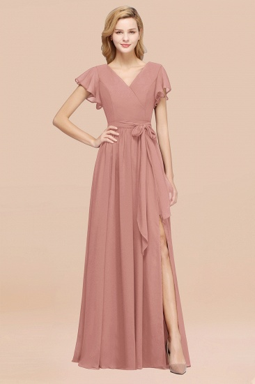 BMbridal Burgundy V-Neck Long Bridesmaid Dress With Short-Sleeves_50