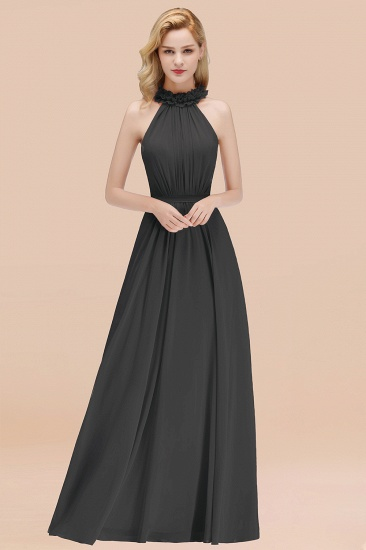 Modest High-Neck Halter Ruffle Chiffon Bridesmaid Dresses Affordable_46