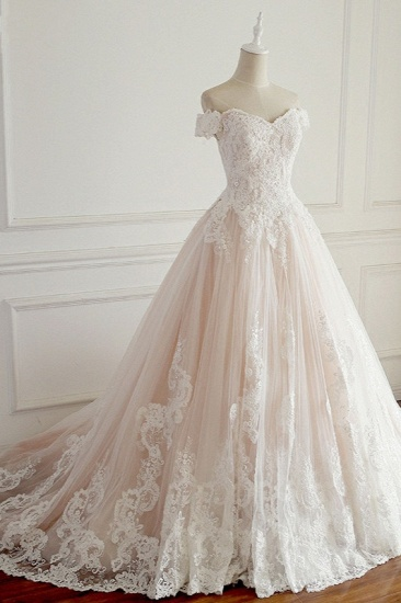 BMbridal Elegant Off-the-Shoulder Tulle Lace Wedding Dress Sweetheart Appliques Sleeveless Bridal Gowns On Sale_4