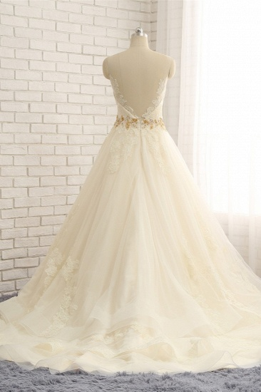 BMbridal Gorgeous Jewel Sleeveless A-Line Tulle Wedding Dress Lace Appliques Bridal Gowns with Beadings_3