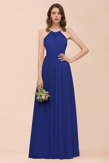 BMbridal Gorgeous Chiffon Halter Ruffle Affordable Long Bridesmaid Dress_26