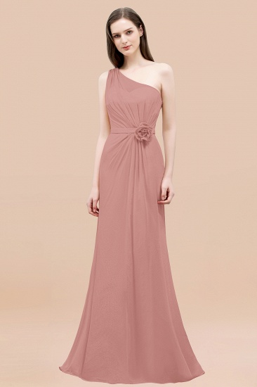 Affordable Mermaid One shoulder Pink Bridesmaid Dresses with Flowers_50