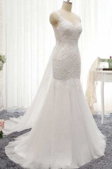 BMbridal Glamorous Strapless Sweetheart Lace Mermaid Wedding Dress White Tulle Appliques Bridal Gowns Online_4