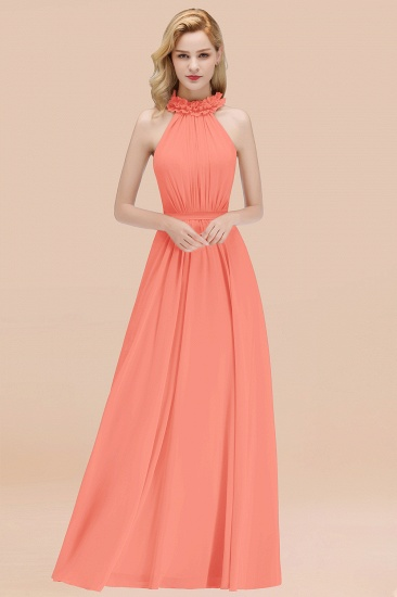 Modest High-Neck Halter Ruffle Chiffon Bridesmaid Dresses Affordable_45