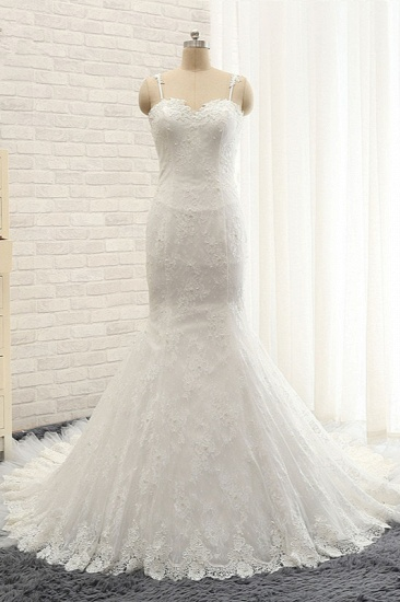 BMbridal Sexy Spaghetti Straps Sleeveless Wedding Dresses With Appliques White Mermaid Lace Bridal Gowns Online_2