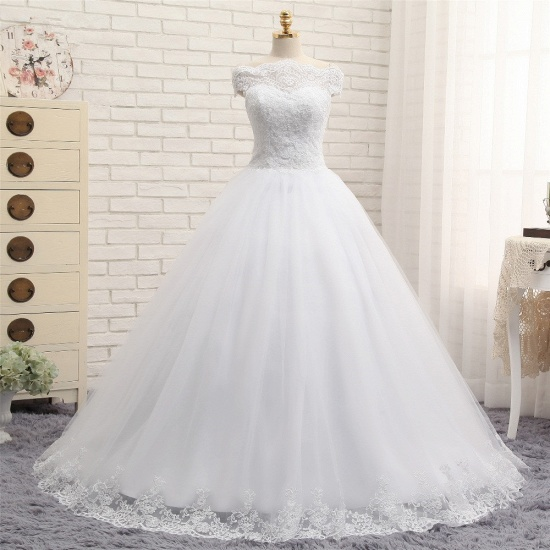 Modest Bateau Tulle Ruffles Wedding Dresses With Appliques A-line White Lace Bridal Gowns On Sale_7
