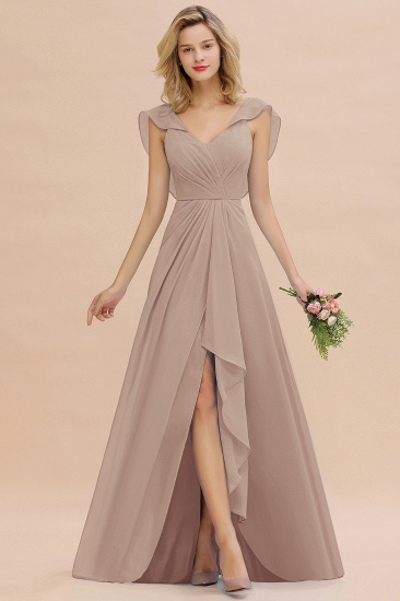 Modest Hi-Lo V-Neck Ruffle Long Bridesmaid Dress with Slit_16
