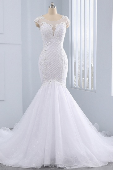 BMbridal Stunning Jewel Tulle Lace Mermaid Wedding Dress Sleeveless Appliques Bridal Gowns On Sale_1