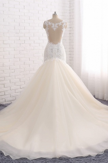 Affordable Strapless Mermaid Tulle Lace Wedding Dress Sweetheart Appliques Bridal Gowns On Sale_3