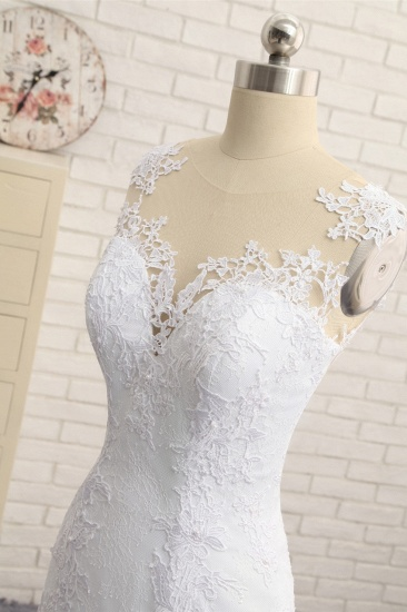 Stunning Jewel White Tulle Lace Wedding Dress Appliques Sleeveless Bridal Gowns On Sale_5