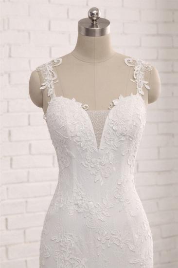 Elegant Straps V-Neck Tulle Lace Mermaid Wedding Dress Appliques Sleeveless Bridal Gowns On Sale_5
