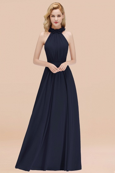Modest High-Neck Halter Ruffle Chiffon Bridesmaid Dresses Affordable_28