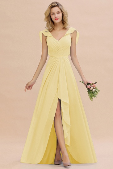 Modest Hi-Lo V-Neck Ruffle Long Bridesmaid Dress with Slit_18