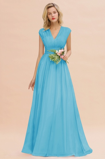 Elegant Chiffon V-Neck Ruffle Long Bridesmaid Dresses Affordable_24