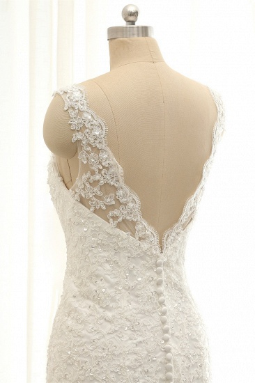 Gorgeous Sleeveless Appliques Beadings Wedding Dress Jewel Tulle White Bridal Gowns On Sale_6