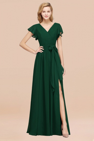 BMbridal Burgundy V-Neck Long Bridesmaid Dress With Short-Sleeves_31