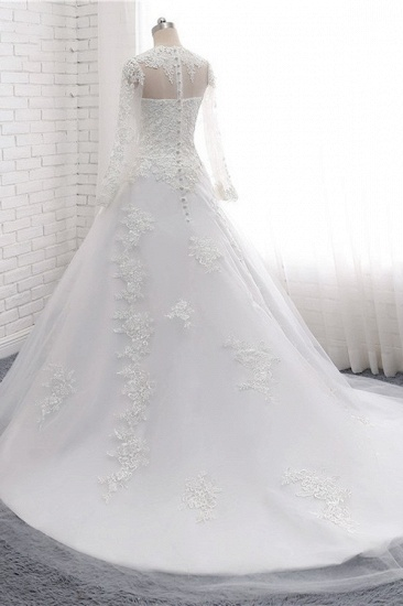 Modest Jewel White Tulle Lace Wedding Dress Long Sleeves Appliques A-Line Bridal Gowns On Sale_5