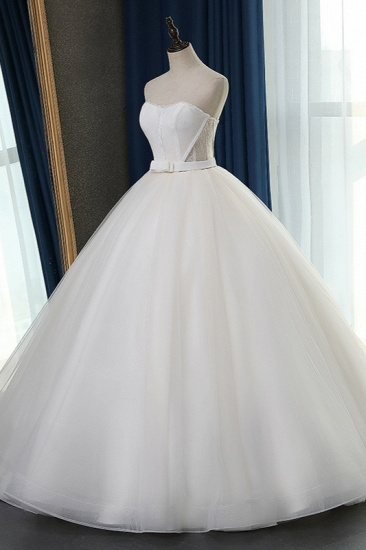 Sexy Strapless Sweetheart Wedding Dress Ball Gown Sleeveless White Tulle Bridal Gowns On Sale_5